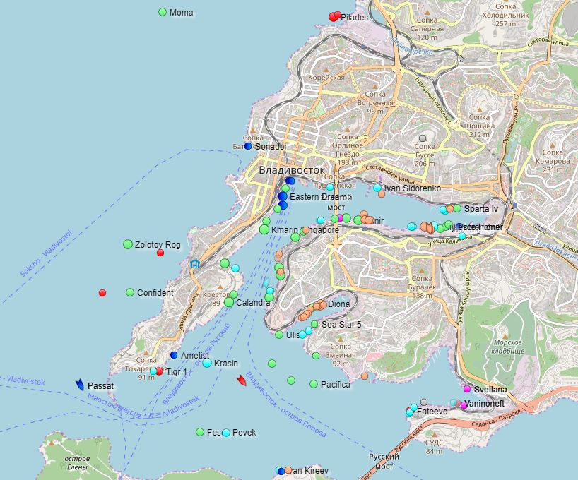 Map of ships in the port of Vladivostok