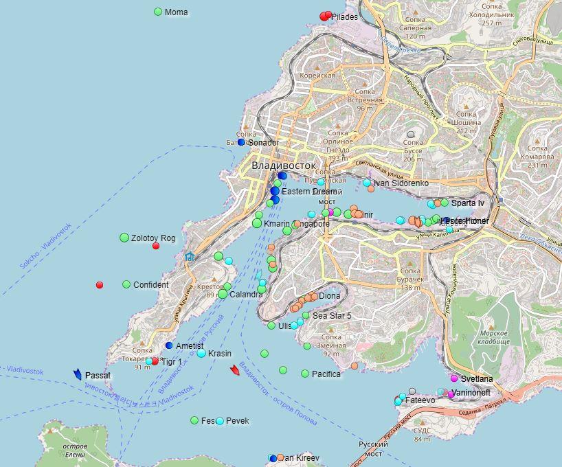 Zemljevid ladij v pristanišču Vladivostok